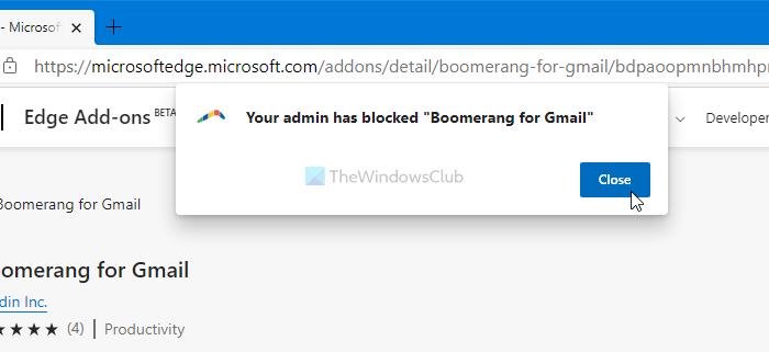 Votre administrateur a bloqué l'extension - Erreur Edge