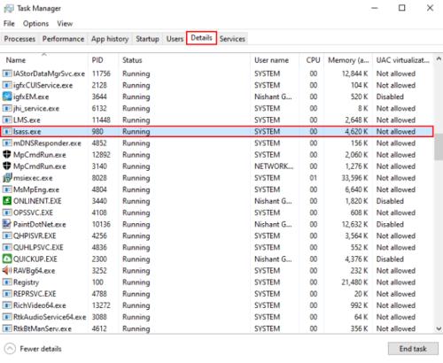Processus Lsass.exe dans Windows 10