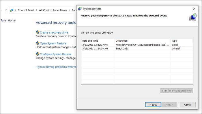 Ouvrez la restauration du système Windows 10