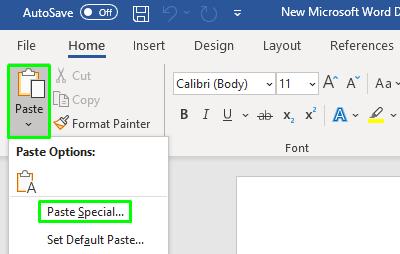 Coller sous forme de texte brut dans Windows10