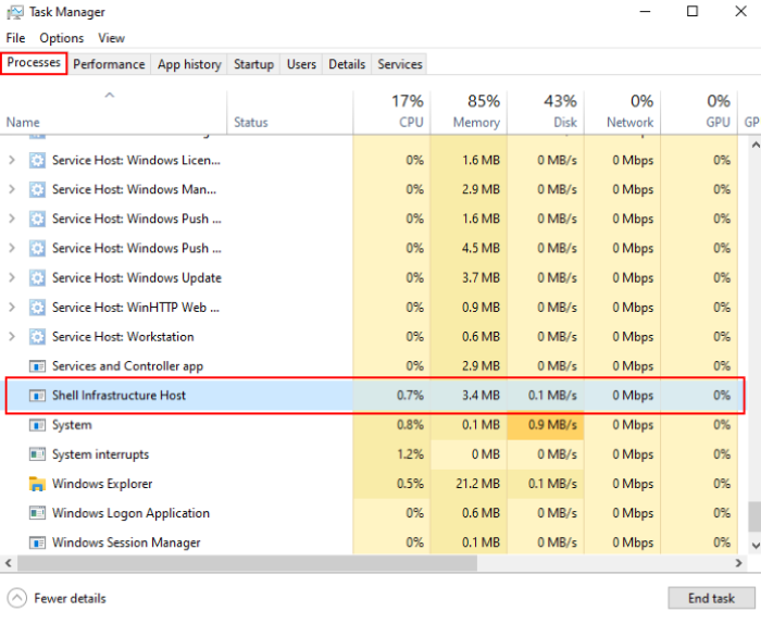 Processus Sihost.exe sous Windows 10_1