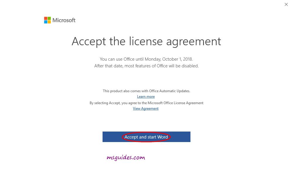 Acceptez le contrat de licence Microsoft