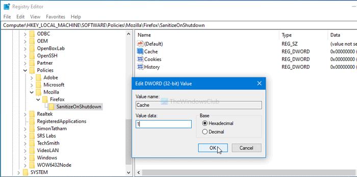 Comment supprimer automatiquement les données de navigation sélectionnées à la fermeture de Firefox