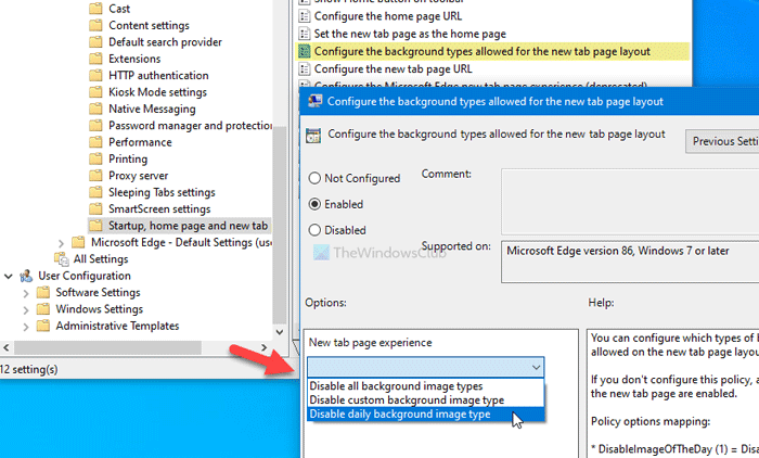 Comment configurer les types d'arrière-plan d'image pour la page du nouvel onglet Edge