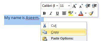 copier un mot de texte