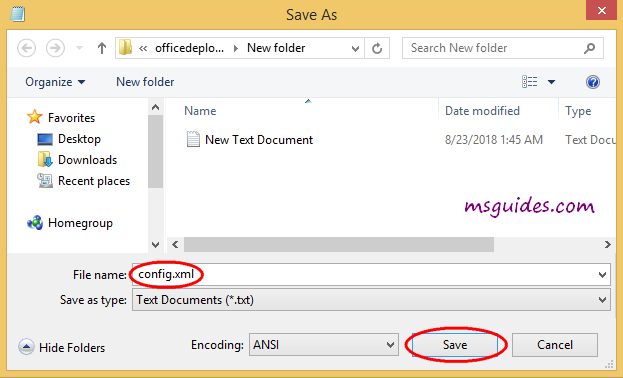 Définir le nom du fichier de configuration
