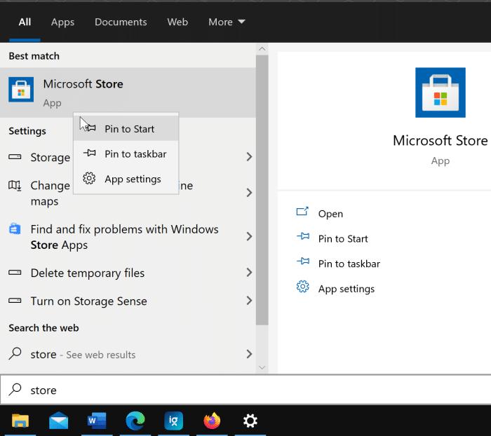 créer un raccourci sur le bureau pour l'application Store dans Windows 10 pic1