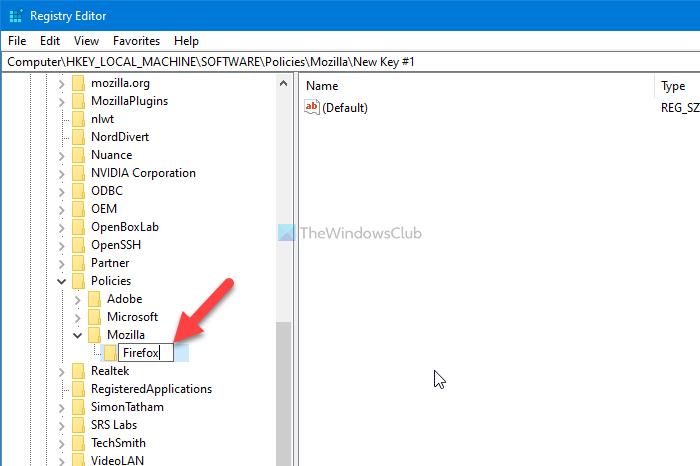 Comment ajouter une page Web dans Firefox à l'aide de l'éditeur de registre