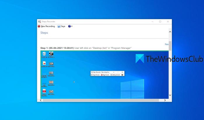 désactiver l'enregistreur de pas Windows 10