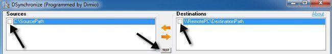 dsychroniser la destination source