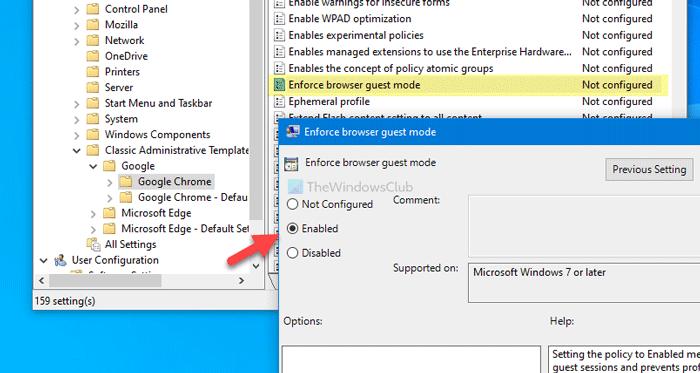 Comment forcer les utilisateurs de Chrome à ouvrir le mode Invité à l'aide du registre et de la stratégie de groupe