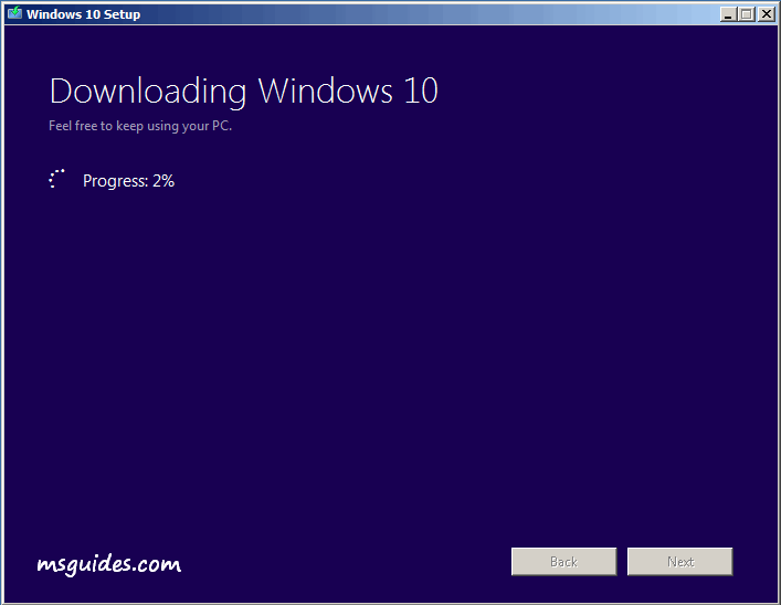 Obtenir la dernière version de la progression de Windows 10