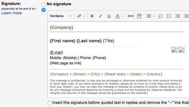 signature html gmail