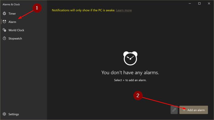 comment utiliser les alarmes dans Windows 10 pic2