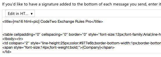 signature de code html