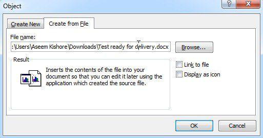 insérer un mot de fichier