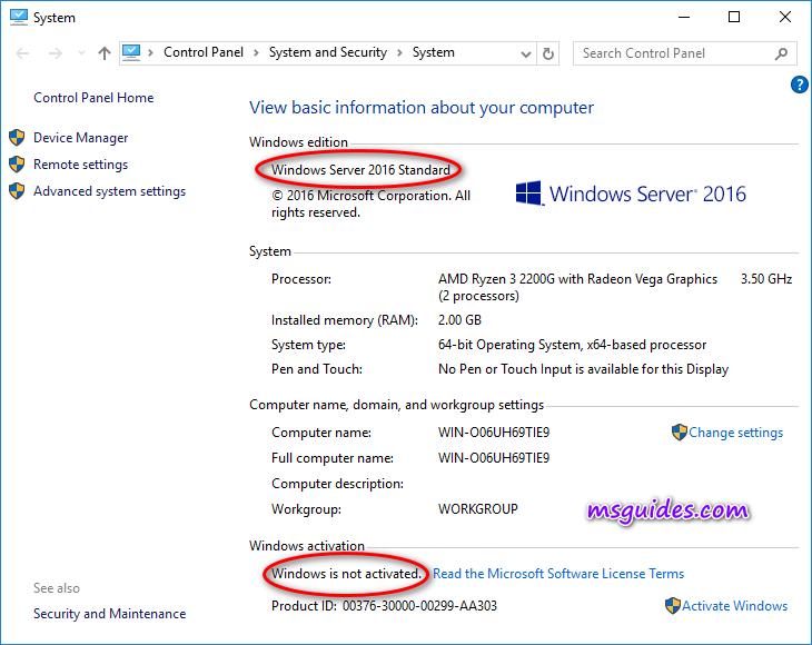 Voici l'état de Windows Server lorsqu'il n'est pas activé