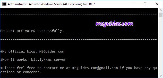 Windows Server est activé avec succès