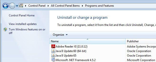 versions installées java