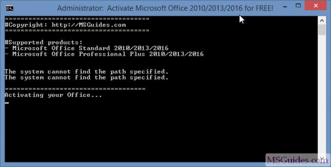 Progression de l'activation d'Office 2016