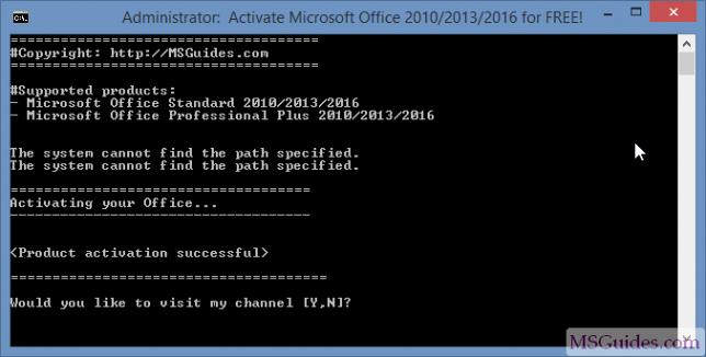 Activation du produit Office 2016 réussie