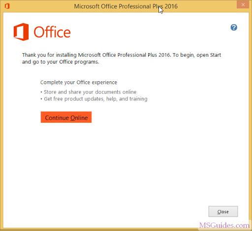 Office 2016 a été installé avec succès