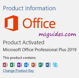 Produit Office 2019 activé