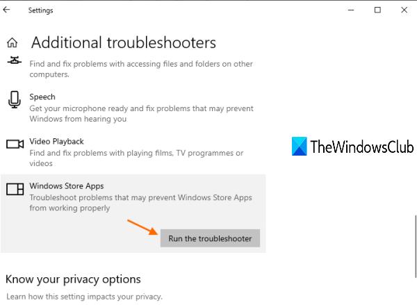 exécuter l'utilitaire de résolution des problèmes des applications du Windows Store