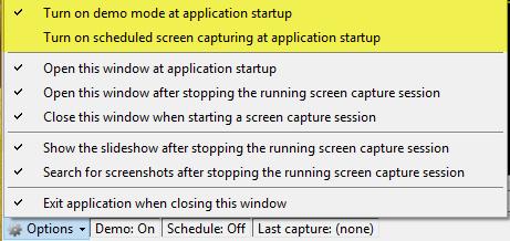 options de capture d'écran