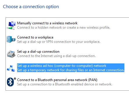 configurer une connexion ad hoc