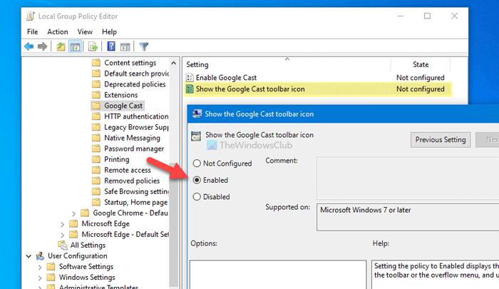Comment afficher ou masquer l'icône de la barre d'outils Google Cast dans Chrome