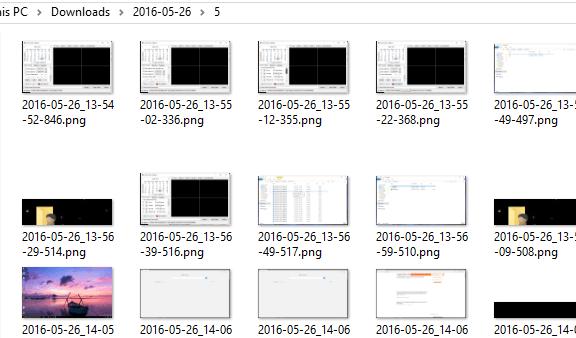 captures d'écran stockées