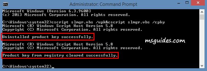 La clé de produit Windows a été supprimée avec succès