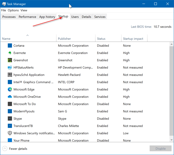 afficher tous les programmes de démarrage dans Windows 10 pic3