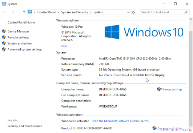Vérifiez l'état d'activation de Windows 10