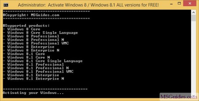 Progression de l'activation de Windows 8 / 8.1