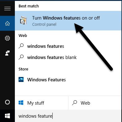 fonctionnalités Windows