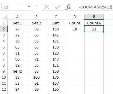 count vs counta