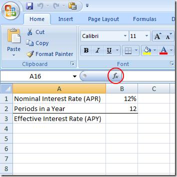 Trouver un APY à partir d'un APR dans Excel