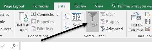 filtre de données excel