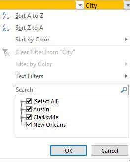 options de filtre excel