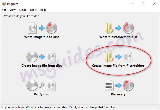 créer un fichier image à partir de fichiers et de dossiers