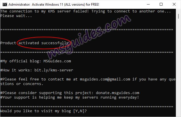 Windows est activé avec succès à l'aide du script batch